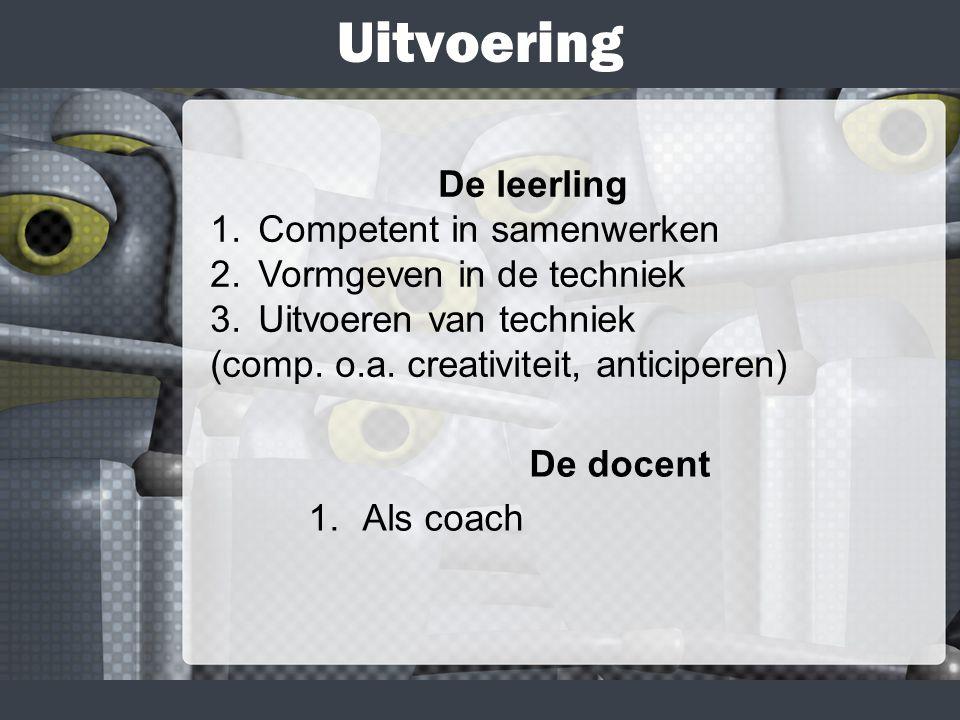 Uitvoering De docent 1.Als coach De leerling 1. Competent in samenwerken 2.