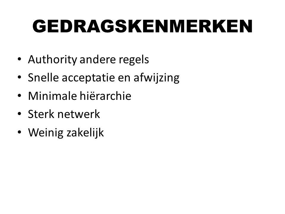 Authority andere regels Snelle acceptatie en afwijzing Minimale hiërarchie Sterk netwerk Weinig zakelijk GEDRAGSKENMERKEN
