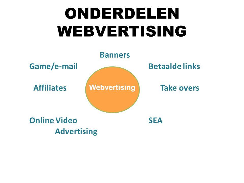 Banners Game/e-mail Betaalde links Affiliates Take overs Online Video SEA Advertising Webvertising ONDERDELEN WEBVERTISING