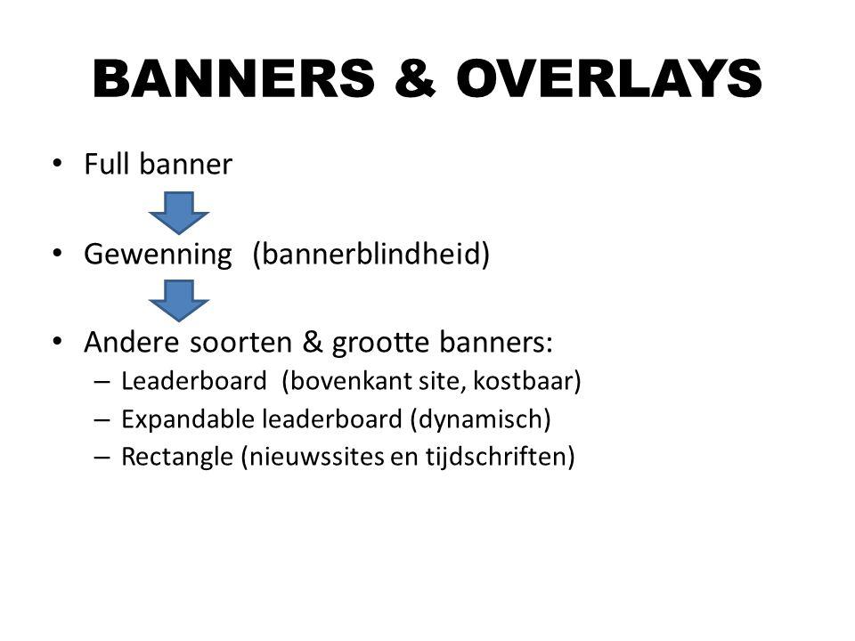 Full banner Gewenning (bannerblindheid) Andere soorten & grootte banners: – Leaderboard (bovenkant site, kostbaar) – Expandable leaderboard (dynamisch