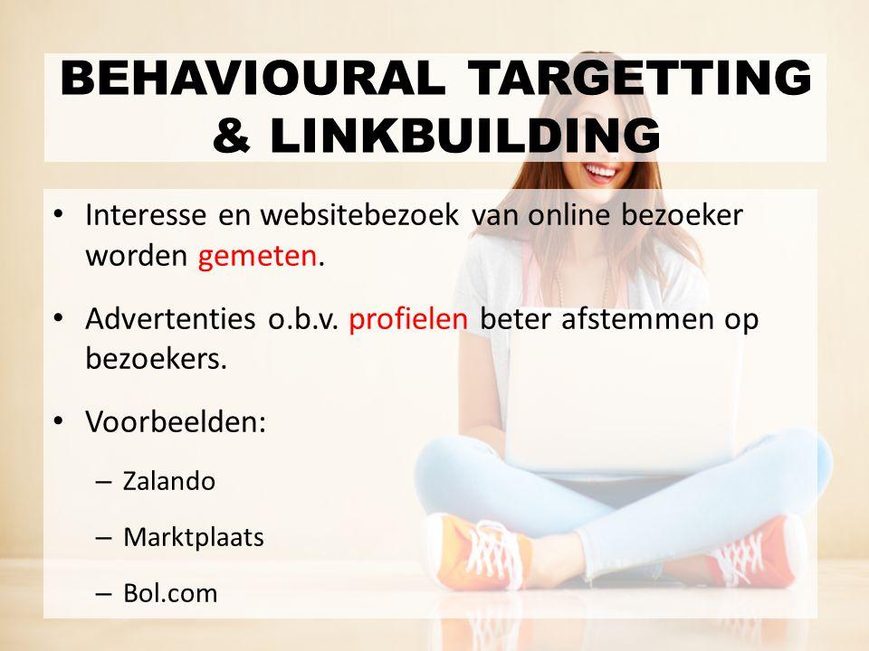 Interesse en websitebezoek van online bezoeker worden gemeten. Advertenties o.b.v. profielen beter afstemmen op bezoekers. Voorbeelden: – Zalando – Ma