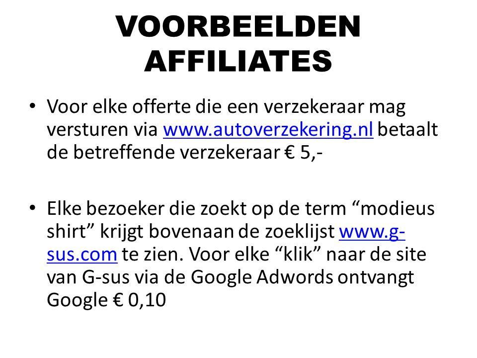VOORBEELDEN AFFILIATES Voor elke offerte die een verzekeraar mag versturen via www.autoverzekering.nl betaalt de betreffende verzekeraar € 5,-www.auto