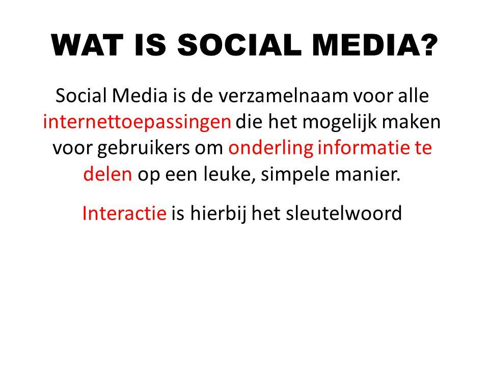Social Media is de verzamelnaam voor alle internettoepassingen die het mogelijk maken voor gebruikers om onderling informatie te delen op een leuke, s
