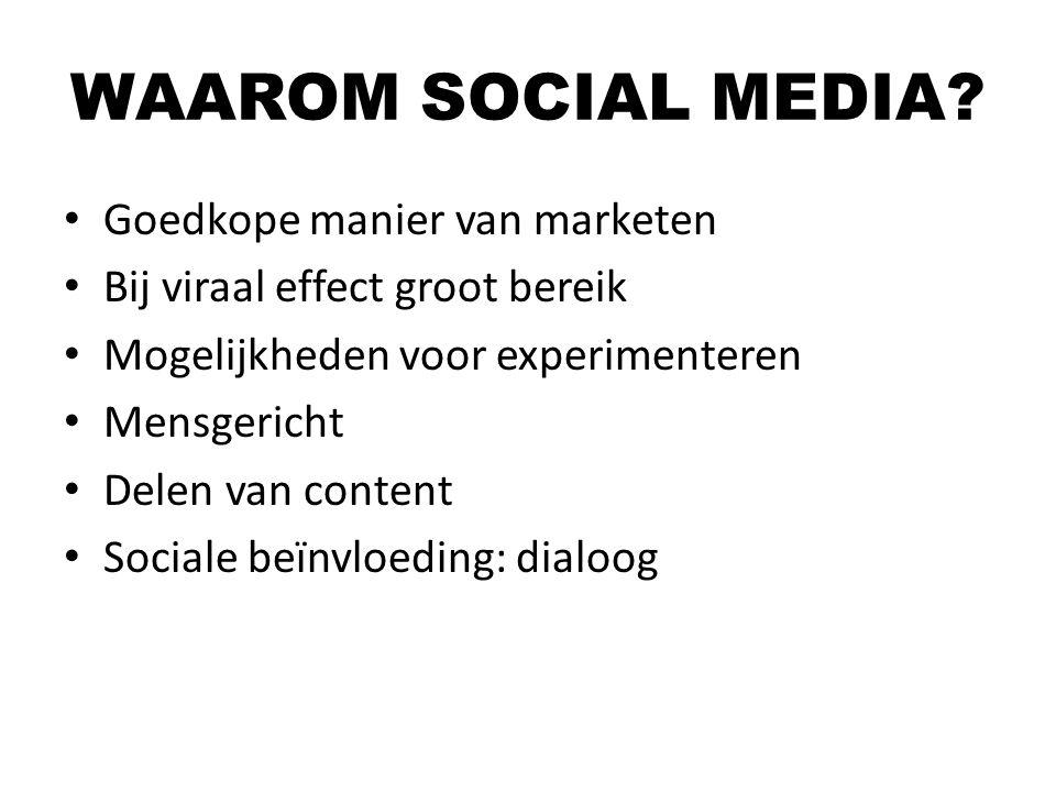 Goedkope manier van marketen Bij viraal effect groot bereik Mogelijkheden voor experimenteren Mensgericht Delen van content Sociale beïnvloeding: dial