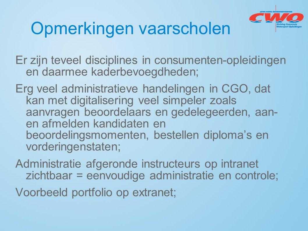 Opmerkingen vaarscholen Er zijn teveel disciplines in consumenten-opleidingen en daarmee kaderbevoegdheden; Erg veel administratieve handelingen in CG