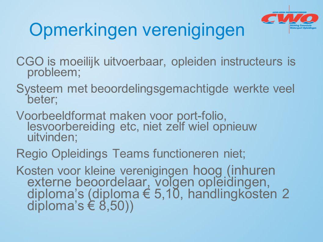 Opmerkingen verenigingen CGO is moeilijk uitvoerbaar, opleiden instructeurs is probleem; Systeem met beoordelingsgemachtigde werkte veel beter; Voorbe