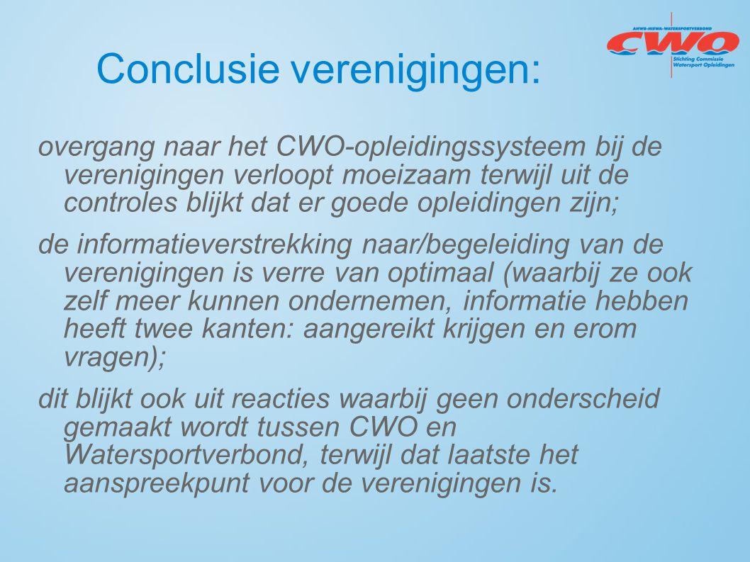 Conclusie verenigingen: overgang naar het CWO-opleidingssysteem bij de verenigingen verloopt moeizaam terwijl uit de controles blijkt dat er goede opl