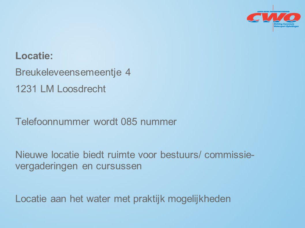 Locatie: Breukeleveensemeentje 4 1231 LM Loosdrecht Telefoonnummer wordt 085 nummer Nieuwe locatie biedt ruimte voor bestuurs/ commissie- vergaderinge