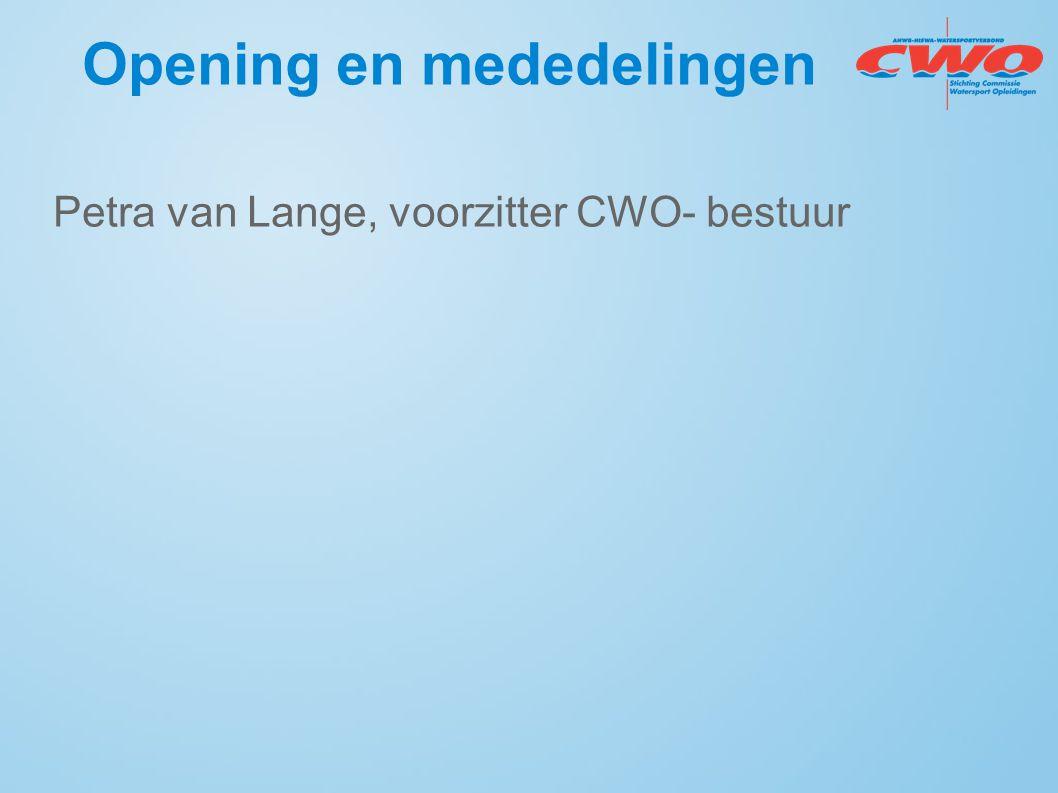 Opening en mededelingen Petra van Lange, voorzitter CWO- bestuur