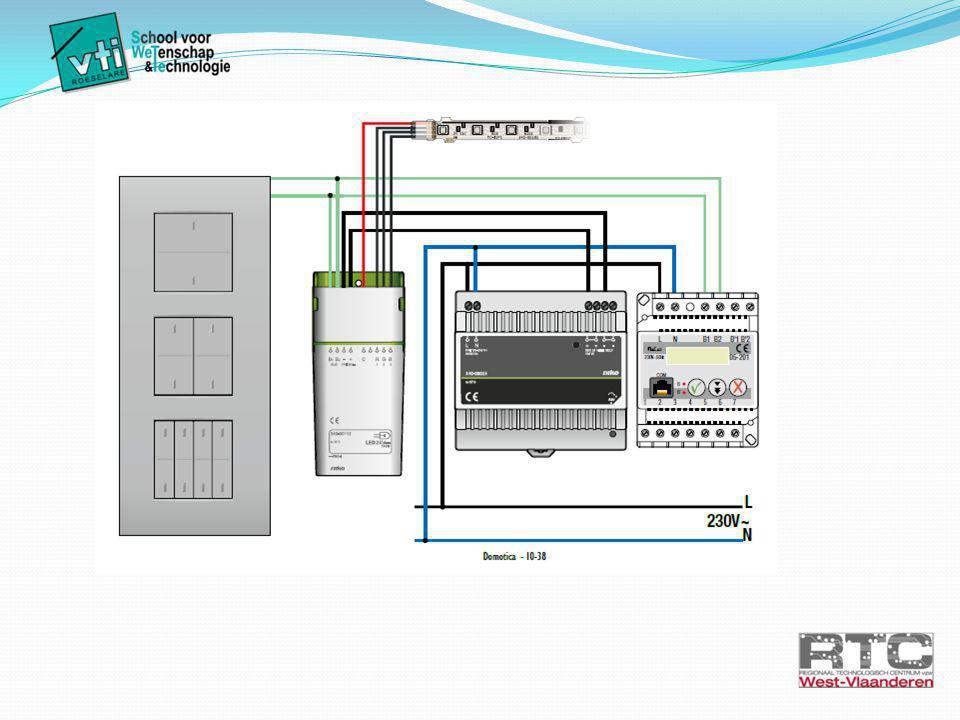 Onderdelen  Voeding van de kast: 230V/50 Hz via contactstop  Beveiliging van het geheel: Automaat C16A Hiermee kan je de installatie in- of uitschakelen.