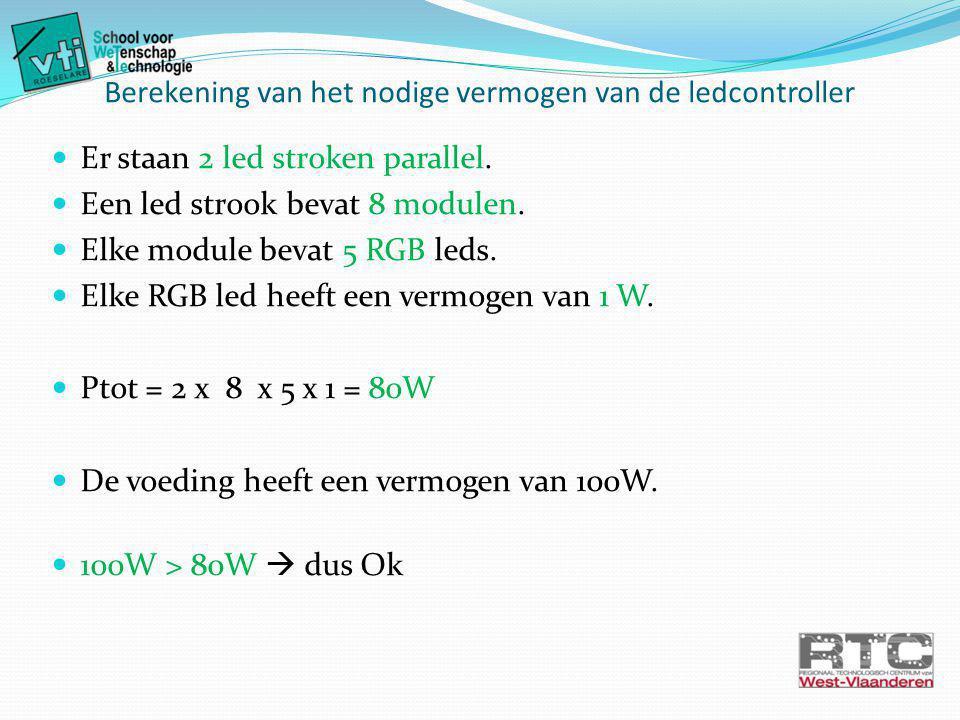 Berekening van het nodige vermogen van de ledcontroller Er staan 2 led stroken parallel.