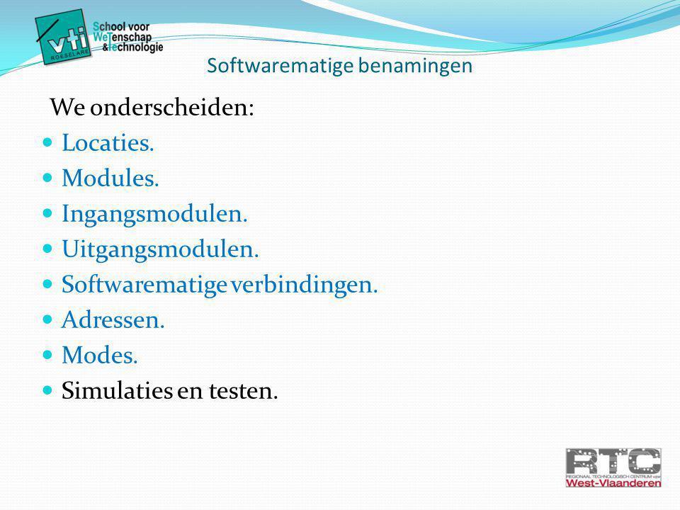 Softwarematige benamingen We onderscheiden: Locaties.