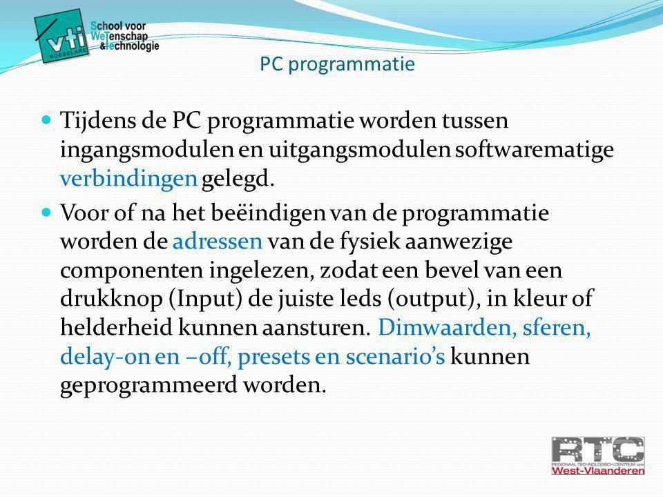 Tijdens de PC programmatie worden tussen ingangsmodulen en uitgangsmodulen softwarematige verbindingen gelegd.