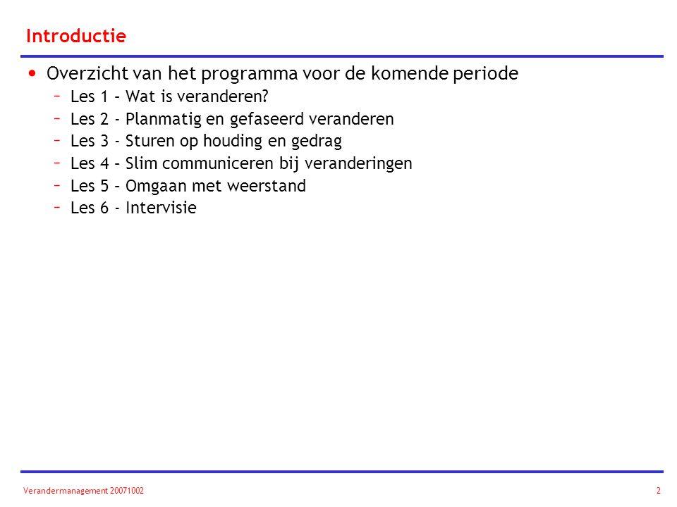 Verandermanagement 200710022 Introductie Overzicht van het programma voor de komende periode – Les 1 – Wat is veranderen? – Les 2 - Planmatig en gefas