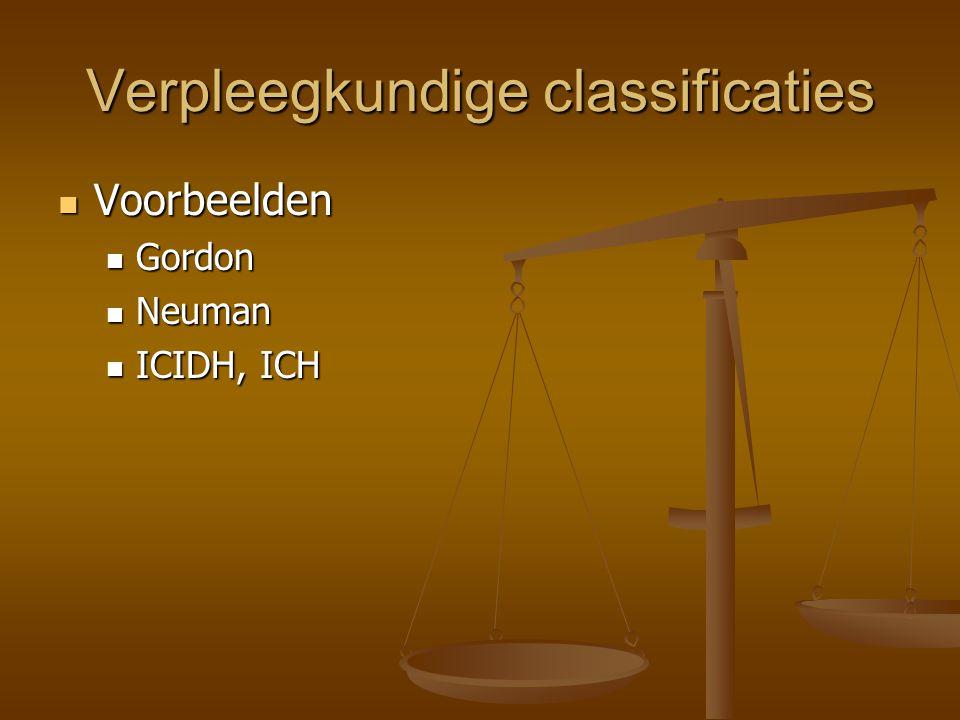 Verpleegkundige classificaties Voorbeelden Voorbeelden Gordon Gordon Neuman Neuman ICIDH, ICH ICIDH, ICH