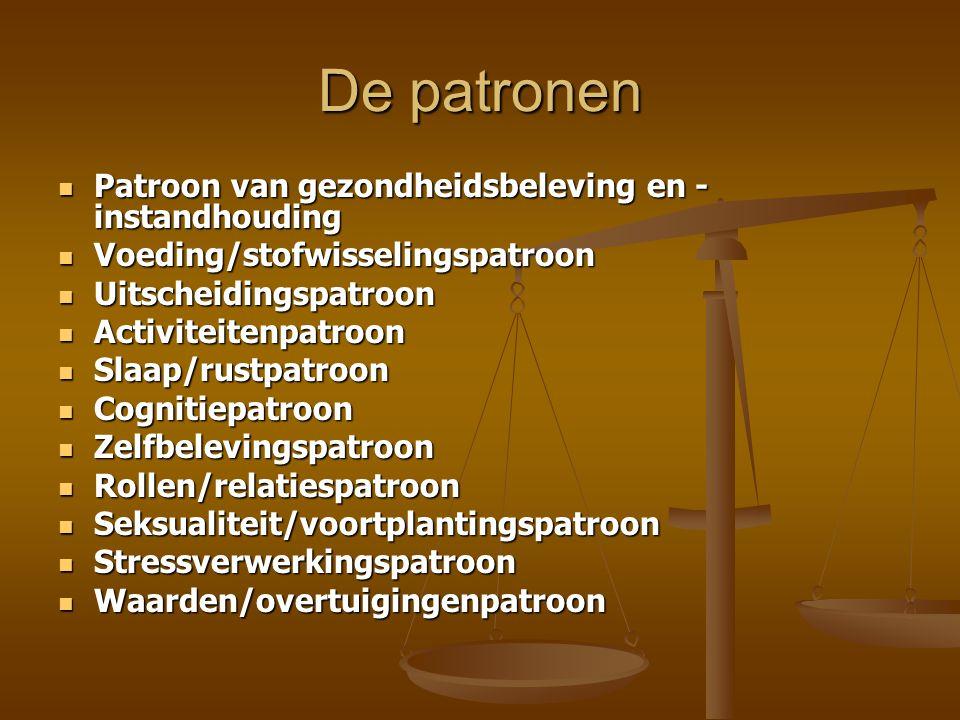 De patronen Patroon van gezondheidsbeleving en - instandhouding Patroon van gezondheidsbeleving en - instandhouding Voeding/stofwisselingspatroon Voed