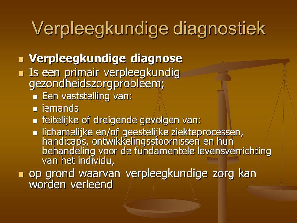 Verpleegkundige diagnostiek Verpleegkundige diagnose Verpleegkundige diagnose Is een primair verpleegkundig gezondheidszorgprobleem; Is een primair ve