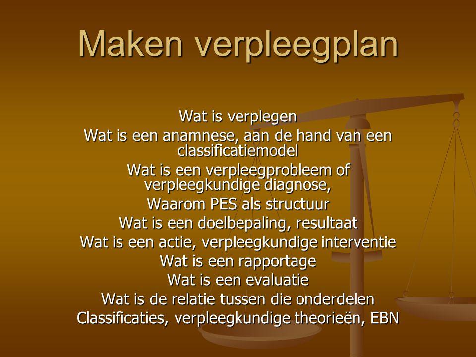 Maken verpleegplan Wat is verplegen Wat is een anamnese, aan de hand van een classificatiemodel Wat is een verpleegprobleem of verpleegkundige diagnos