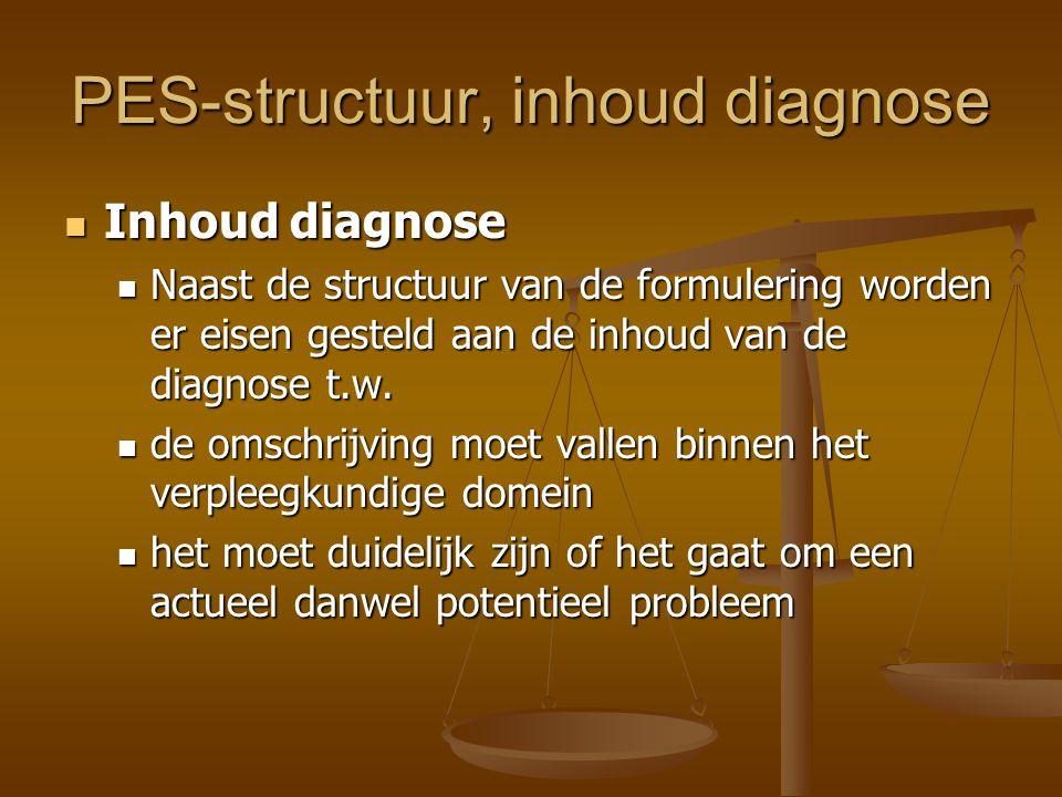 PES-structuur, inhoud diagnose Inhoud diagnose Inhoud diagnose Naast de structuur van de formulering worden er eisen gesteld aan de inhoud van de diag