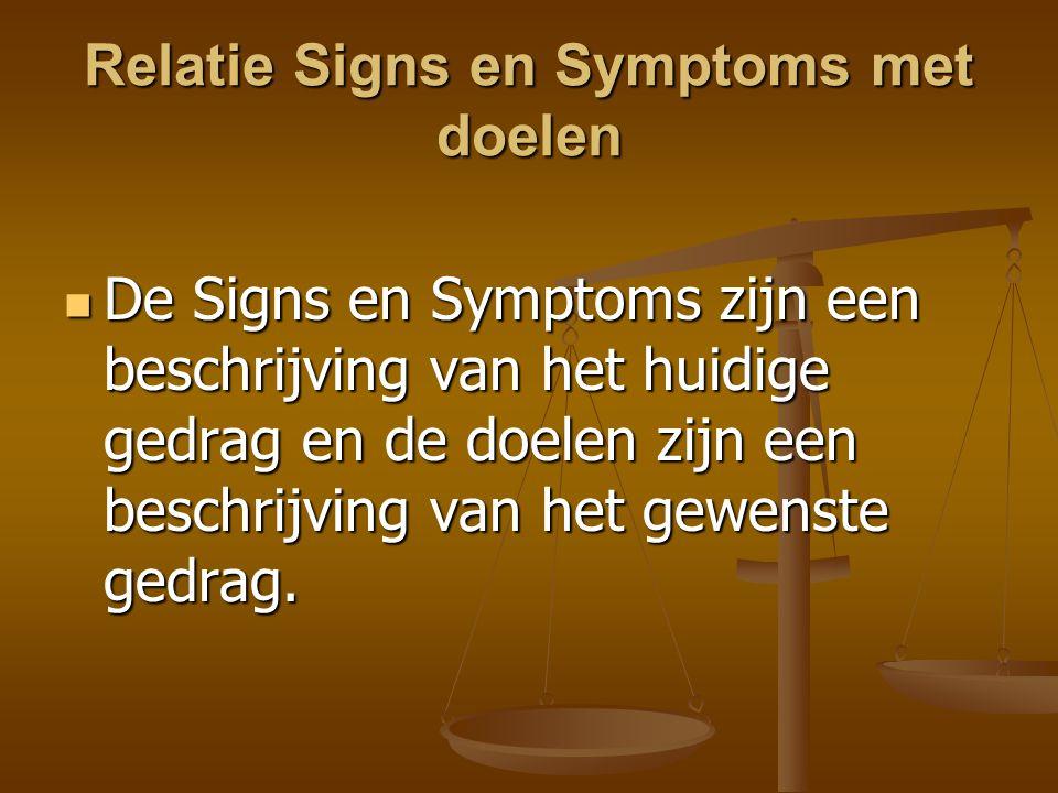 Relatie Signs en Symptoms met doelen De Signs en Symptoms zijn een beschrijving van het huidige gedrag en de doelen zijn een beschrijving van het gewe