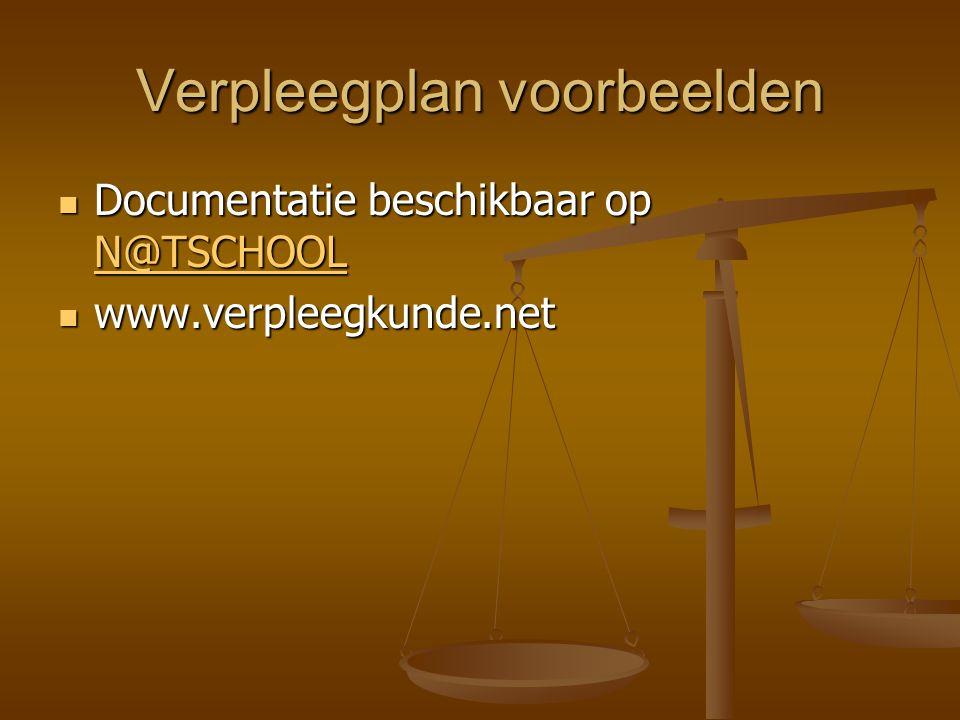 Verpleegplan voorbeelden Documentatie beschikbaar op N@TSCHOOL Documentatie beschikbaar op N@TSCHOOL N@TSCHOOL www.verpleegkunde.net www.verpleegkunde