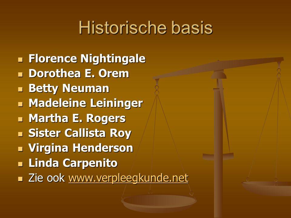 Historische basis Florence Nightingale Florence Nightingale Dorothea E. Orem Dorothea E. Orem Betty Neuman Betty Neuman Madeleine Leininger Madeleine