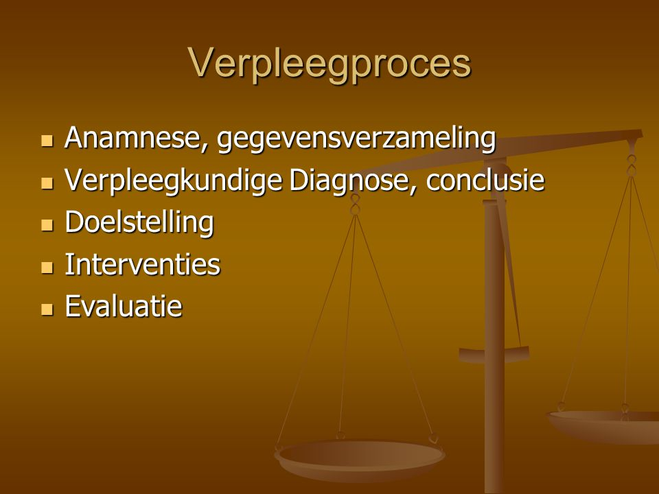 Verpleegproces Anamnese, gegevensverzameling Anamnese, gegevensverzameling Verpleegkundige Diagnose, conclusie Verpleegkundige Diagnose, conclusie Doelstelling Doelstelling Interventies Interventies Evaluatie Evaluatie