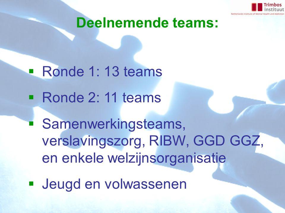 Deelnemende teams:  Ronde 1: 13 teams  Ronde 2: 11 teams  Samenwerkingsteams, verslavingszorg, RIBW, GGD GGZ, en enkele welzijnsorganisatie  Jeugd en volwassenen