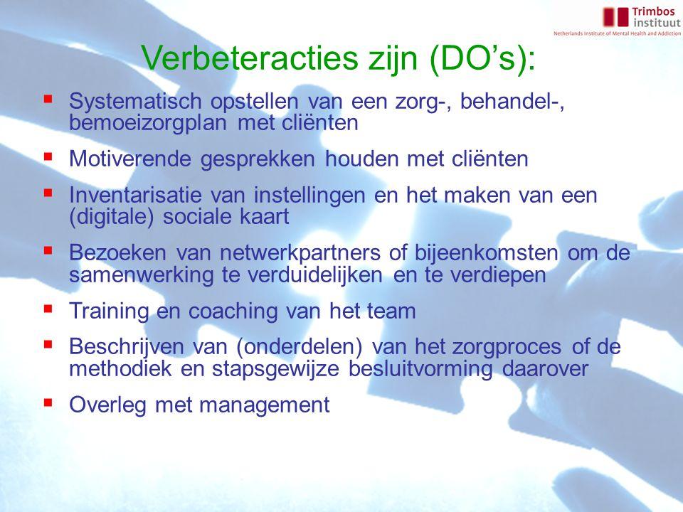 Verbeteracties zijn (DO's):  Systematisch opstellen van een zorg-, behandel-, bemoeizorgplan met cliënten  Motiverende gesprekken houden met cliënten  Inventarisatie van instellingen en het maken van een (digitale) sociale kaart  Bezoeken van netwerkpartners of bijeenkomsten om de samenwerking te verduidelijken en te verdiepen  Training en coaching van het team  Beschrijven van (onderdelen) van het zorgproces of de methodiek en stapsgewijze besluitvorming daarover  Overleg met management