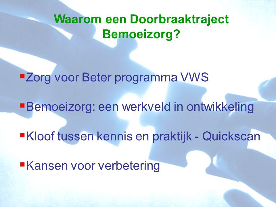  Zorg voor Beter programma VWS  Bemoeizorg: een werkveld in ontwikkeling  Kloof tussen kennis en praktijk - Quickscan  Kansen voor verbetering Waarom een Doorbraaktraject Bemoeizorg?