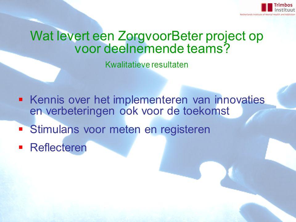 Wat levert een ZorgvoorBeter project op voor deelnemende teams? Kwalitatieve resultaten  Kennis over het implementeren van innovaties en verbeteringe