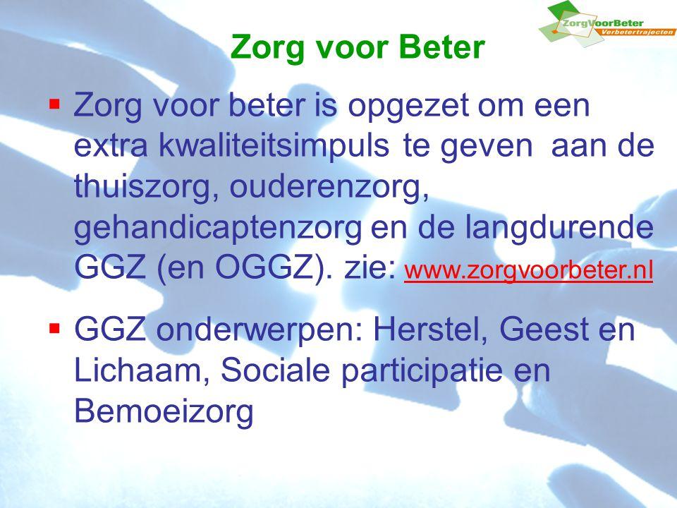 Zorg voor Beter  Zorg voor beter is opgezet om een extra kwaliteitsimpuls te geven aan de thuiszorg, ouderenzorg, gehandicaptenzorg en de langdurende GGZ (en OGGZ).