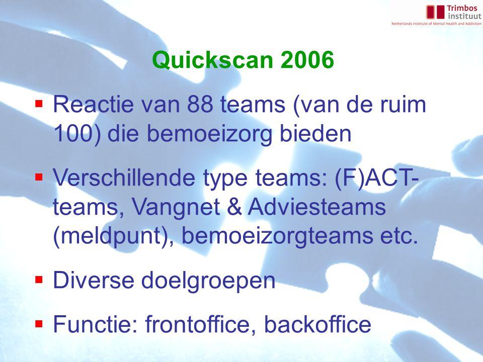 Quickscan 2006  Reactie van 88 teams (van de ruim 100) die bemoeizorg bieden  Verschillende type teams: (F)ACT- teams, Vangnet & Adviesteams (meldpu
