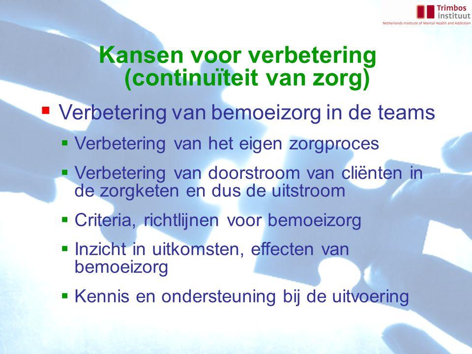 Kansen voor verbetering (continuïteit van zorg)  Verbetering van bemoeizorg in de teams  Verbetering van het eigen zorgproces  Verbetering van doorstroom van cliënten in de zorgketen en dus de uitstroom  Criteria, richtlijnen voor bemoeizorg  Inzicht in uitkomsten, effecten van bemoeizorg  Kennis en ondersteuning bij de uitvoering