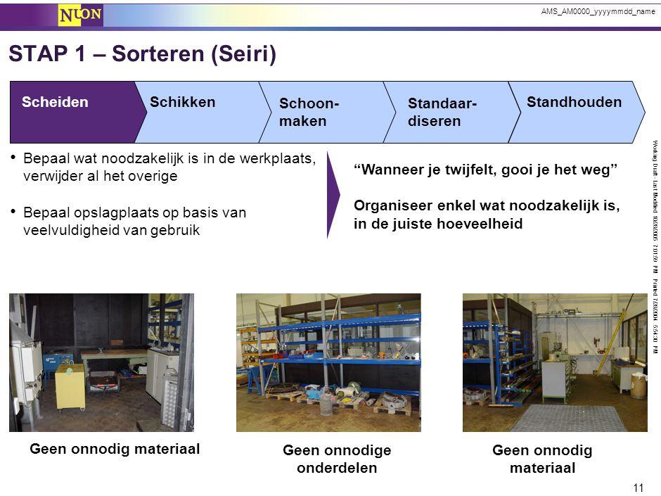Working Draft - Last Modified 10/28/2005 7:01:59 PM Printed 7/28/2004 5:54:30 PM 11 AMS_AM0000_yyyymmdd_name ScheidenSchikken Schoon- maken Standaar-