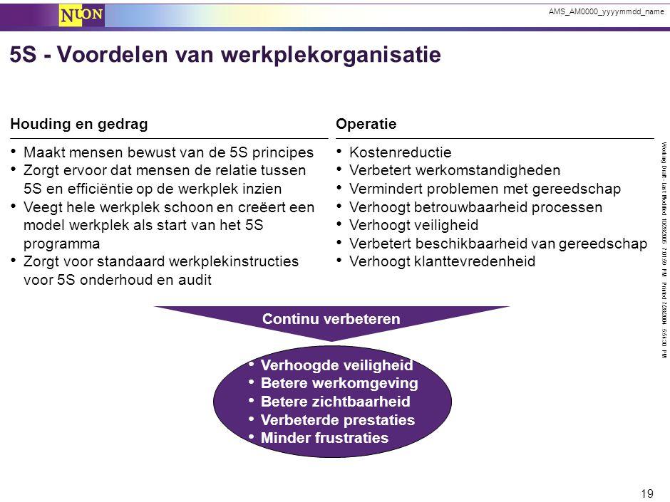 Working Draft - Last Modified 10/28/2005 7:01:59 PM Printed 7/28/2004 5:54:30 PM 19 AMS_AM0000_yyyymmdd_name Verhoogde veiligheid Betere werkomgeving