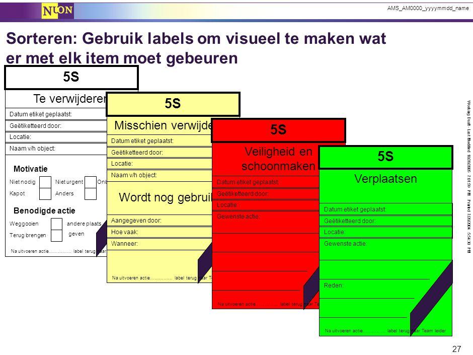 Working Draft - Last Modified 10/28/2005 7:01:59 PM Printed 7/28/2004 5:54:30 PM 27 AMS_AM0000_yyyymmdd_name Sorteren: Gebruik labels om visueel te ma