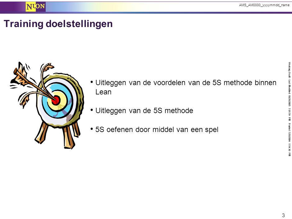 Working Draft - Last Modified 10/28/2005 7:01:59 PM Printed 7/28/2004 5:54:30 PM 3 AMS_AM0000_yyyymmdd_name Uitleggen van de voordelen van de 5S metho
