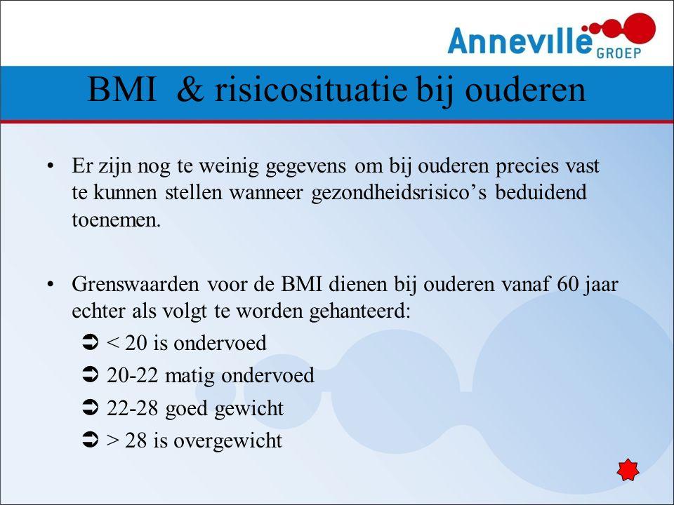 BMI & risicosituatie bij ouderen Er zijn nog te weinig gegevens om bij ouderen precies vast te kunnen stellen wanneer gezondheidsrisico's beduidend to