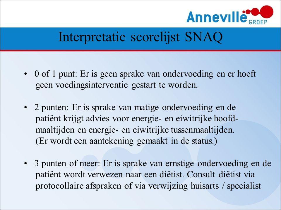 Interpretatie scorelijst SNAQ 0 of 1 punt: Er is geen sprake van ondervoeding en er hoeft geen voedingsinterventie gestart te worden. 2 punten: Er is