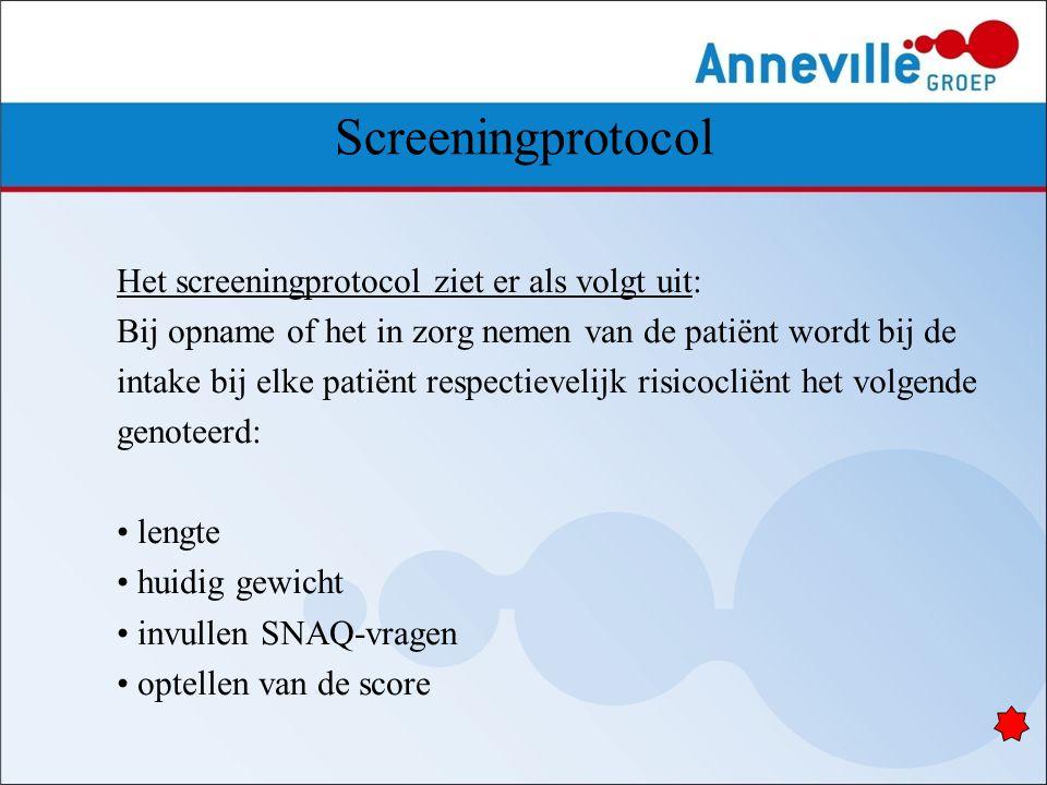 Screeningprotocol Het screeningprotocol ziet er als volgt uit: Bij opname of het in zorg nemen van de patiënt wordt bij de intake bij elke patiënt res