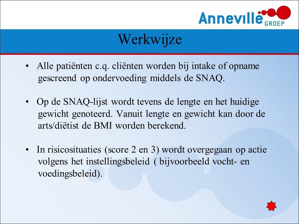 Werkwijze Alle patiënten c.q. cliënten worden bij intake of opname gescreend op ondervoeding middels de SNAQ. Op de SNAQ-lijst wordt tevens de lengte