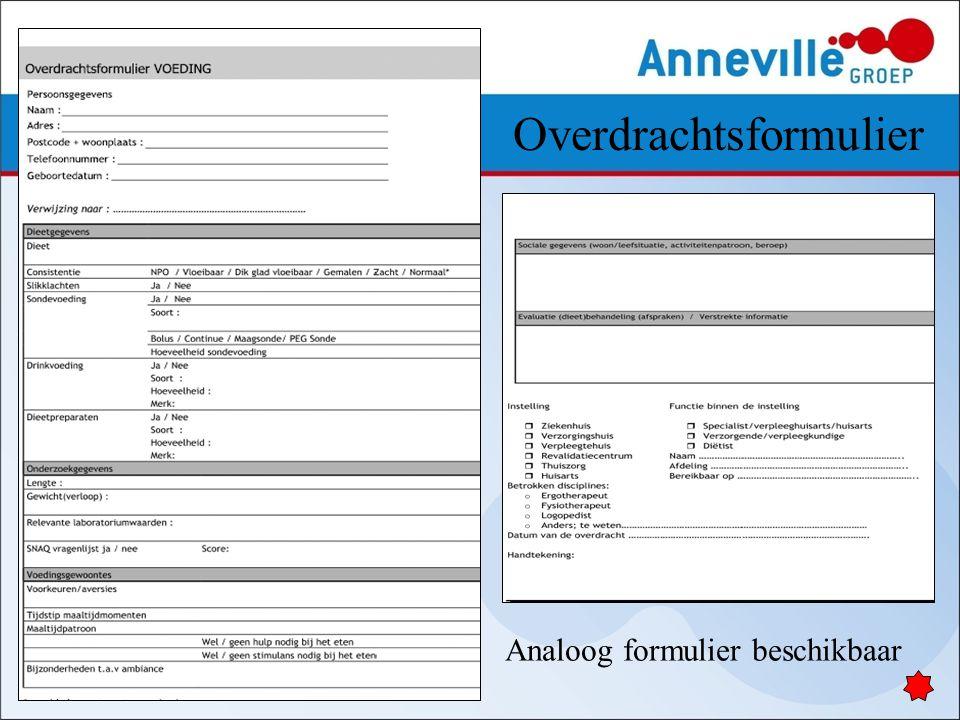 Overdrachtsformulier Analoog formulier beschikbaar