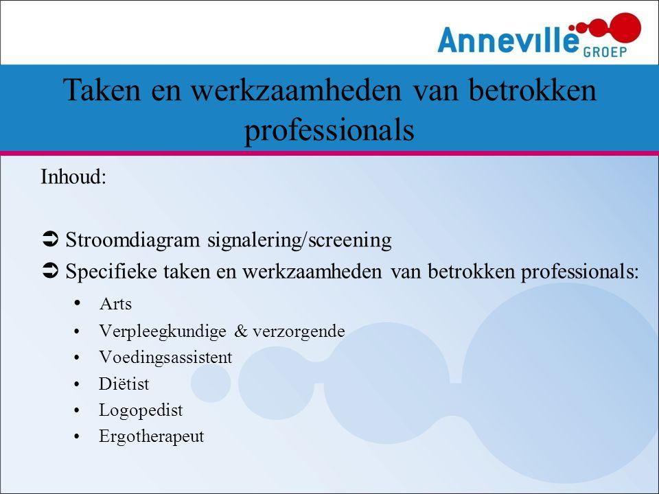 Inhoud:  Stroomdiagram signalering/screening  Specifieke taken en werkzaamheden van betrokken professionals: Arts Verpleegkundige & verzorgende Voed