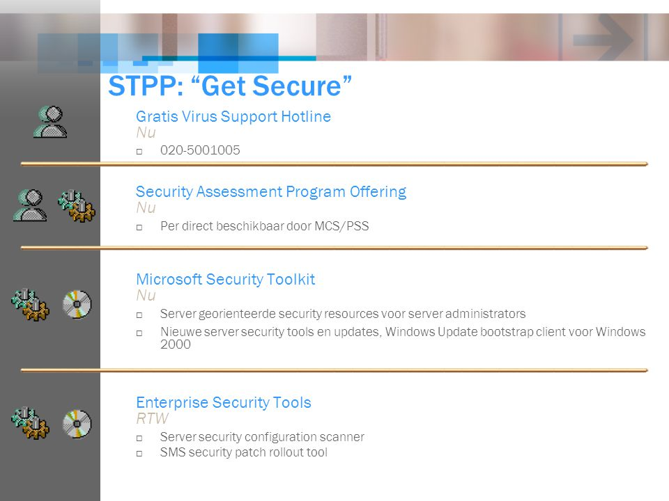 "STPP: ""Get Secure"" Gratis Virus Support Hotline Nu  020-5001005 Security Assessment Program Offering Nu  Per direct beschikbaar door MCS/PSS Microso"