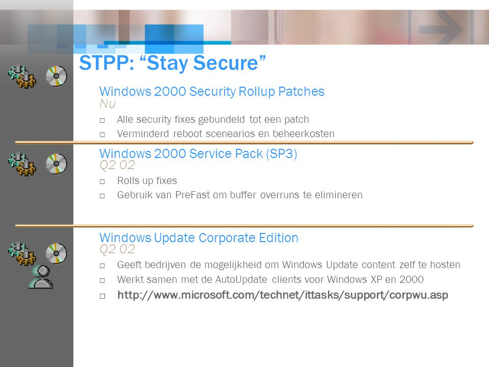 "STPP: ""Stay Secure"" Windows 2000 Security Rollup Patches Nu  Alle security fixes gebundeld tot een patch  Verminderd reboot scenearios en beheerkost"