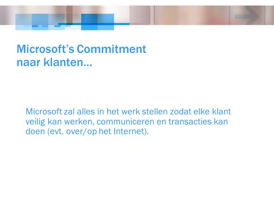 Microsoft's Commitment naar klanten… Microsoft zal alles in het werk stellen zodat elke klant veilig kan werken, communiceren en transacties kan doen
