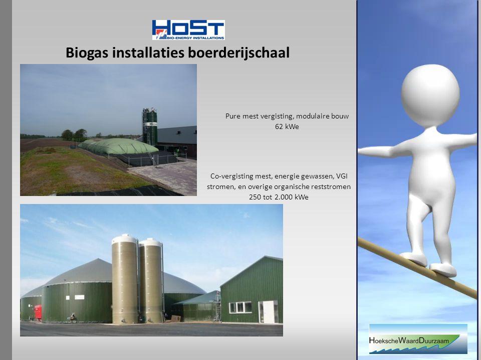 Biogas installaties boerderijschaal Co-vergisting mest, energie gewassen, VGI stromen, en overige organische reststromen 250 tot 2.000 kWe Pure mest vergisting, modulaire bouw 62 kWe