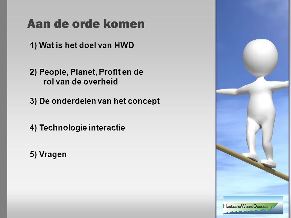 2) People, Planet, Profit en de rol van de overheid 3) De onderdelen van het concept 4) Technologie interactie 5) Vragen 1) Wat is het doel van HWD Aan de orde komen