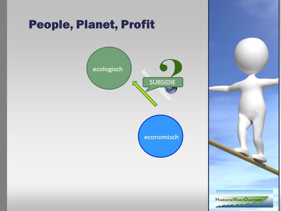 People, Planet, Profit ecologisch economisch levensvatbaar SUBSIDIE